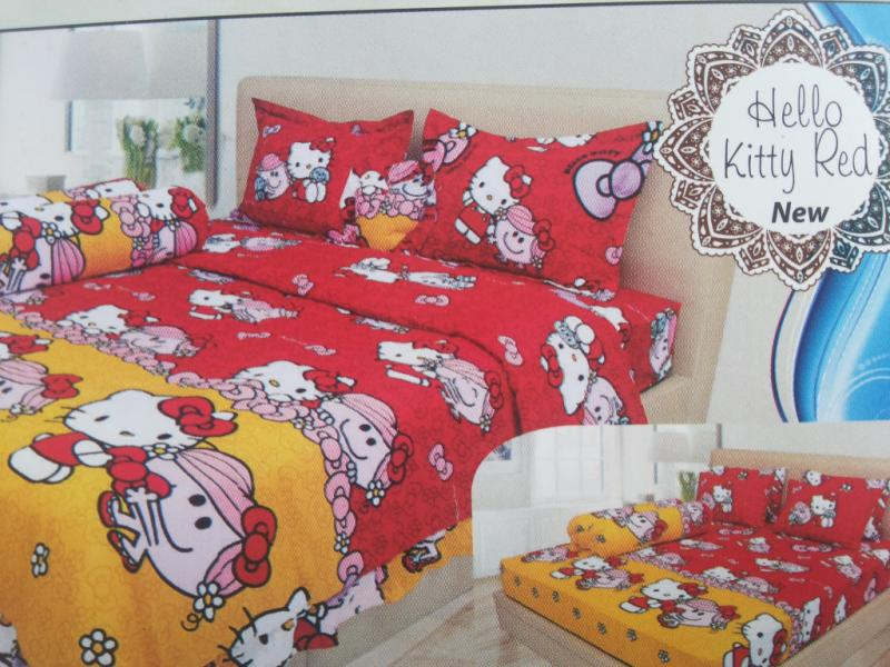 BED COVER LADY ROSE 180 HELLO KITTY RED